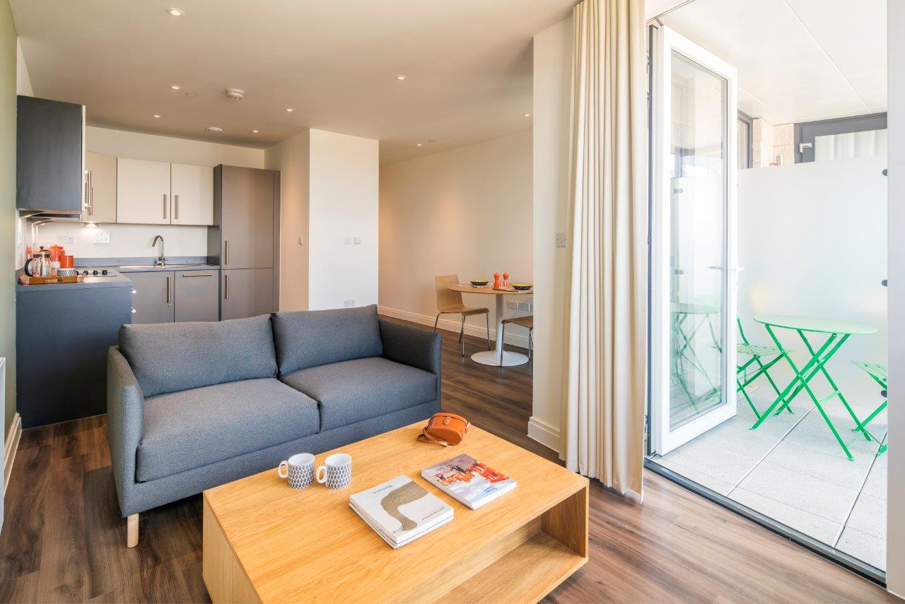 All apartments are open plan, with light and spacious kitchens and living rooms. Bedrooms have en-suite bathrooms wherever possible and our standard two beds have two en-suite bathrooms. All units are furnished with designer furniture that's built to last and high quality fixtures and fittings.
